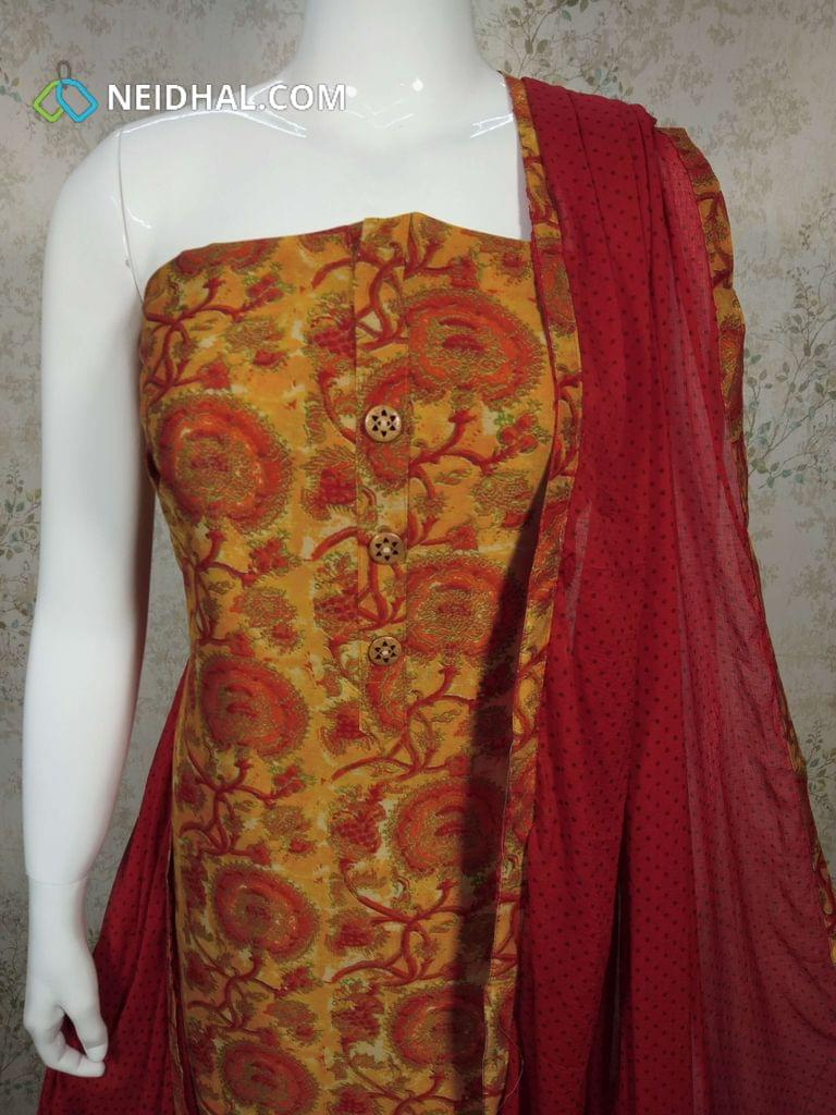 Digital Printed Silk Cotton Unstitched salwar material with wodden buttons on yoke, redcotton bottom, printed pink chiffopn dupatta with tapings.