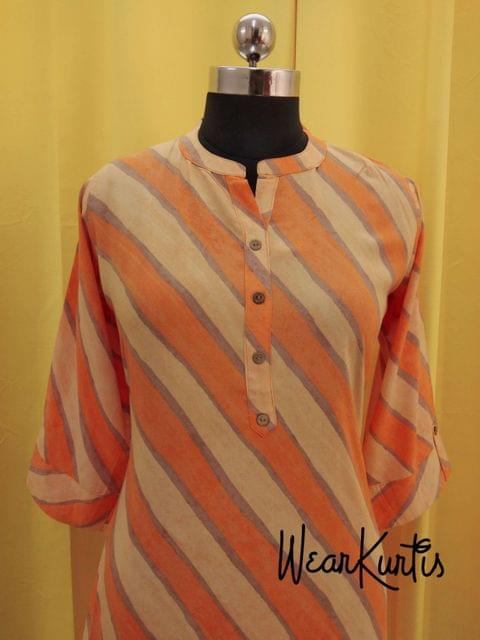 Orange Stiped Modal fabric Kurti with  Front open placket(Refer Size chart, 3rd pic before ordering, No Refund, No Return, No exchange, No cancellation), Mandarin collar, Height 44, 3/4 sleeves with flaps, side slits.
