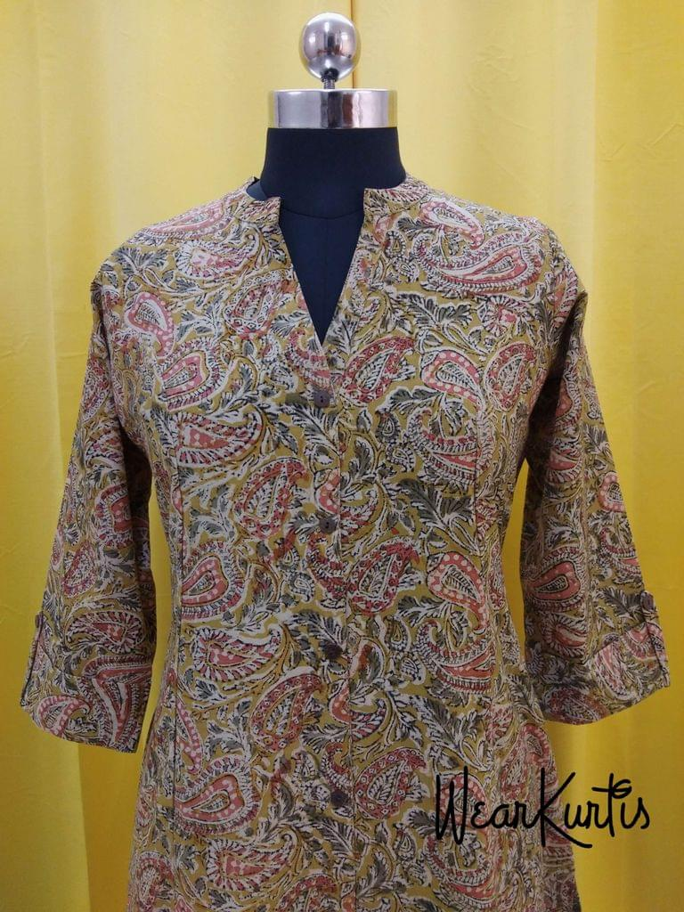 Kalamkari Fenu greek Yellow Cotton kurti with front open placket  (Refer Size chart, 3rd pic before ordering, No Refund, No Return, No exchange, No cancellation),Mandarin Collar, Princess Cut, Height 47-48, 3/4 Sleeves with flaps, front and slide slits, one side pocket.