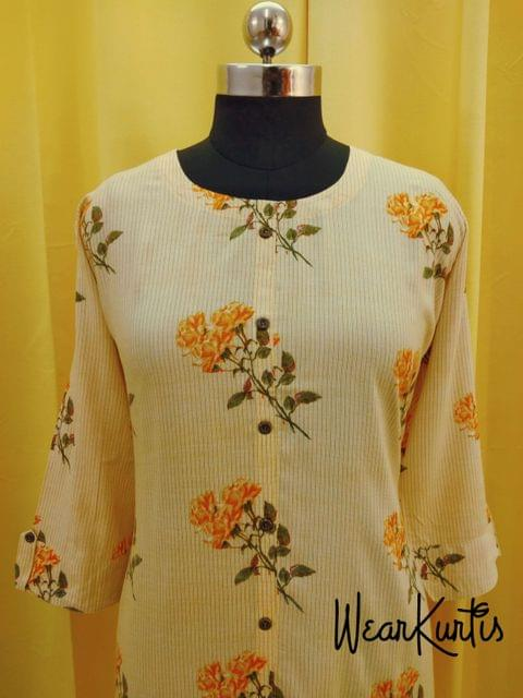 Floral Printed Yellow Modal Kurti with Front Closed placket,(Refer Size chart, 3rd pic before ordering, No Refund, No Return, No exchange, No cancellation), Round Neck, Height - 47, 3/4 Sleeves, front and side slits.