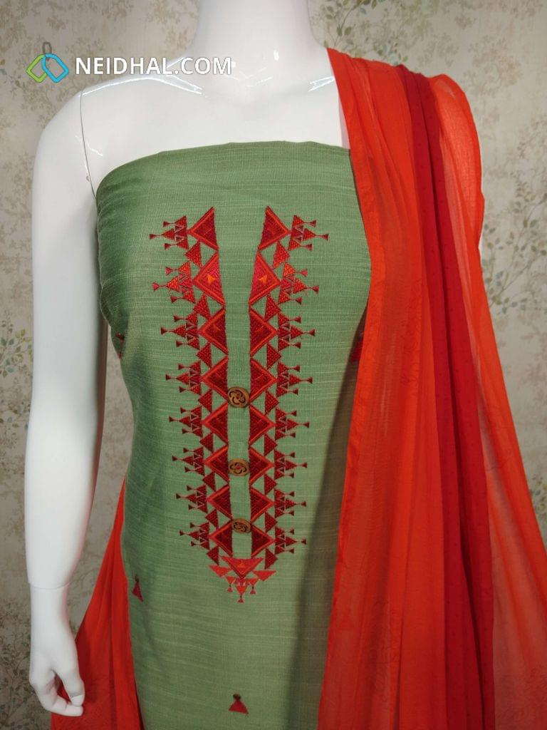 Green Slub Silk Cotton unstitched salwar material(requires lining) with embroidery work on yoke, red cotton bottom, printed dual color chiffon dupatta with tapings