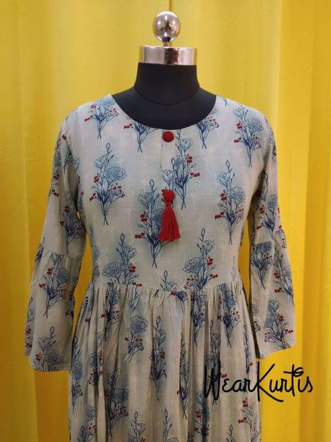 Floral Printed Modal gathered waistline flared Kurti, buttons and tassels on yoke, (Refer Size chart, 3rd pic before ordering, No Refund, No Return, No exchange, No cancellation), Round Neck, Height 44,3/4 bell sleeves,