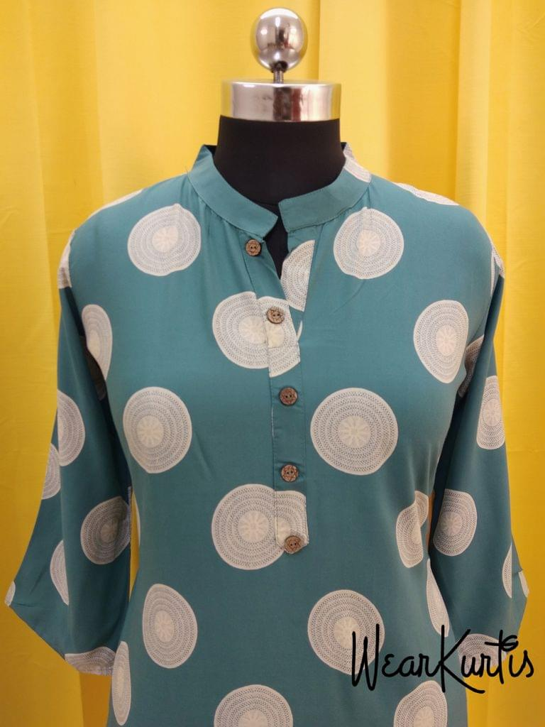 Printed Blue Modal fabric Kurti with  Front open placket(2 buttons can be unbuttoned)(Refer Size chart, 2nd pic before ordering, No Refund, No Return, No exchange, No cancellation), Mandarin collar, Height 39, 3/4 sleeves, side slits.