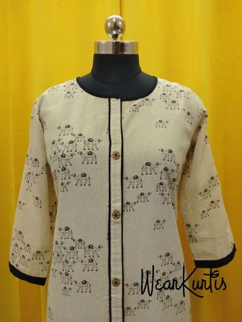 Printed Beige Jute Flex Kurti, front open placket (Refer Size chart, 3rd pic before ordering, No Refund, No Return, No exchange, No cancellation),Round neck, Height 45, 3/4 Sleeves, front and slide slits.