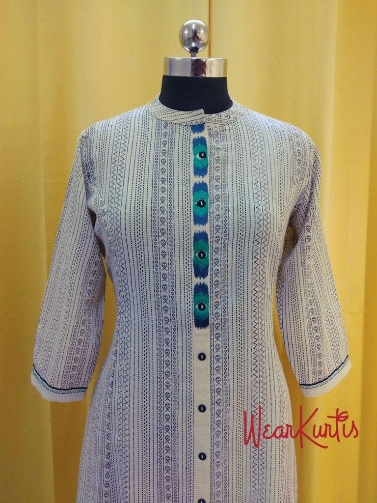Designer Printed Cream Cotton Kurti (Refer Size chart, 3rd pic before ordering, No Refund, No Return, No exchange, No cancellation), Mandari collar, Height-46, 3/4 sleeves, Pockets on one side.