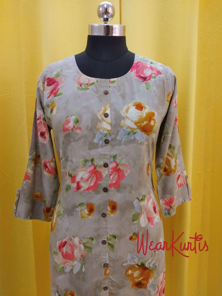 Floral Printed Grey Modal fabric Kurti with front closed placket(Refer Size chart, 3rd pic before ordering, No Refund, No Return, No exchange, No cancellation),Round Neck, Height 44, 3/4 sleeves with flaps, front and side slits.