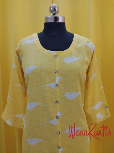Printed Yellow Cotton Kurti with front closed placket(Refer Size chart, 3rd pic before ordering, No Refund, No Return, No exchange, No cancellation),Round Neck, Height 43, 3/4 sleeves with flaps, side slits.