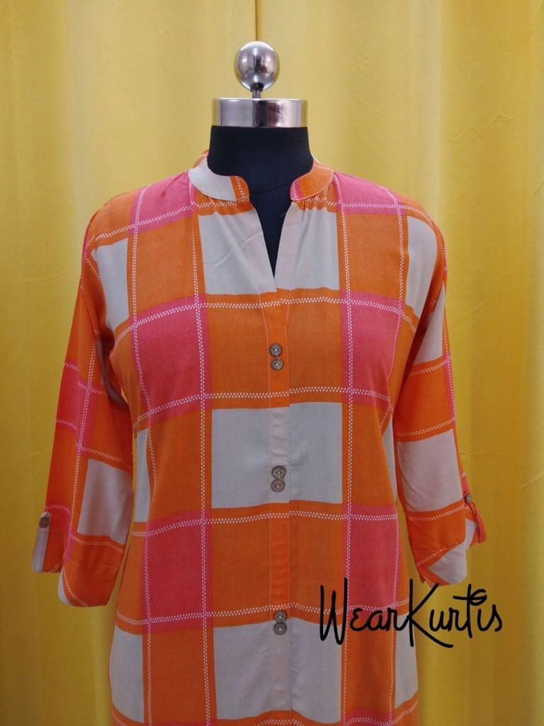 Checked Beige and Orange Soft Modal checked Kurit(Refer Size chart, 3rd pic before ordering, No Refund, No Return, No exchange, No cancellation), Mandarin Collar, Height 45, 3/4 Sleeves, front and side slit