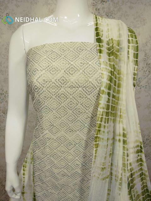 Light green Silk Cotton Unstitched Salwar material(requires lining) with heavy embroidery work on front side, plain back side, green cotton bottom, printed chiffon dupatta.(requires taping)
