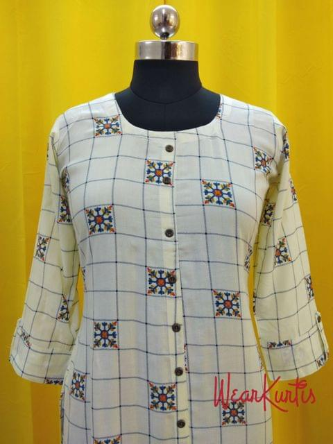 Printed Half White Modal fabric  Kurti with  Front closed placket (Refer Size chart, 3rd pic before ordering, No Refund, No Return, No exchange, No cancellation), Round Neck, Height 45, 3/4 sleeves with flaps, front and side slits.