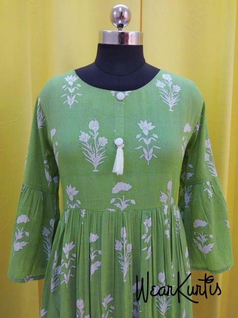 Printed Green Liquid fabric gathred flared Kurti with buttons on yoke(Refer Size chart, 3rd pic before ordering, No Refund, No Return, No exchange, No cancellation),Round Neck, Heigh 45, 3/4 Bell sleeves.