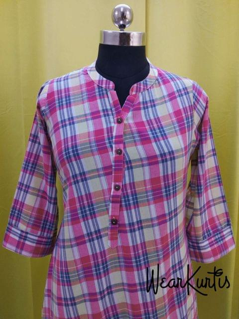 Checked Pink Cotton Kurti With open front placket (all buttons can be unbuttoned)(Refer Size chart, 3rd pic before ordering, No Refund, No Return, No exchange, No cancellation), Mandarin Collar, Height-45, 3/4 Sleeves with flaps, A Line, two side pockets