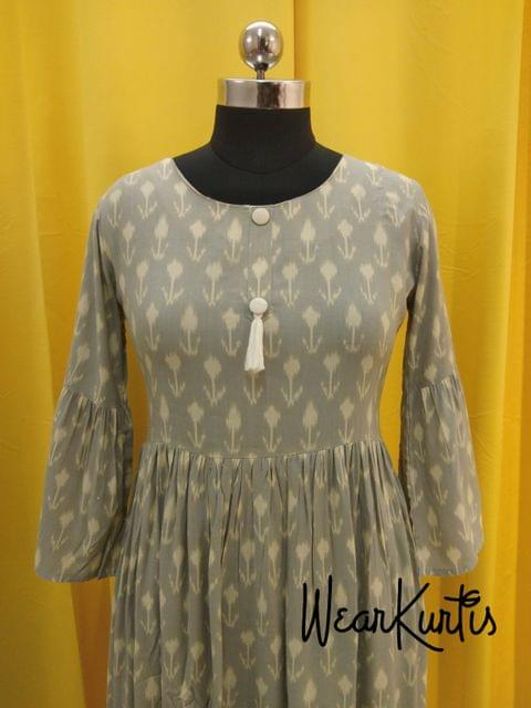 Grey Modal Fabric gathered waistline flared Kurti With closed front placket(Refer Size chart, 3rd pic before ordering, No Refund, No Return, No exchange, No cancellation), Round Neck, Height 44-46, 3/4  bell Sleeves
