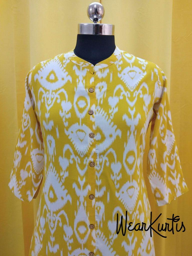 Printed Yellow Modal  kurti with front open placket (Refer Size chart, 3rd pic before ordering, No Refund, No Return, No exchange, No cancellation), Mandarin Collar, Height 44, 3/4Sleeves , front and slide slits, one side pocket.