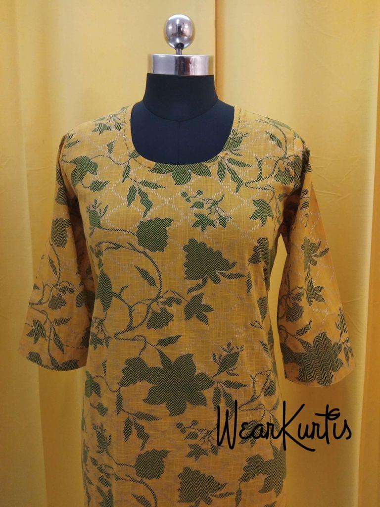 Printed Yellow Slub Cotton Stylish Kurti with sequence and golden prints(Refer Size chart, 2ndd pic before ordering, No Refund, No Return, No exchange, No cancellation), Round Neck, Height 45, 3/4 sleeves, one side pocket, side slits, rope tassles at the slits