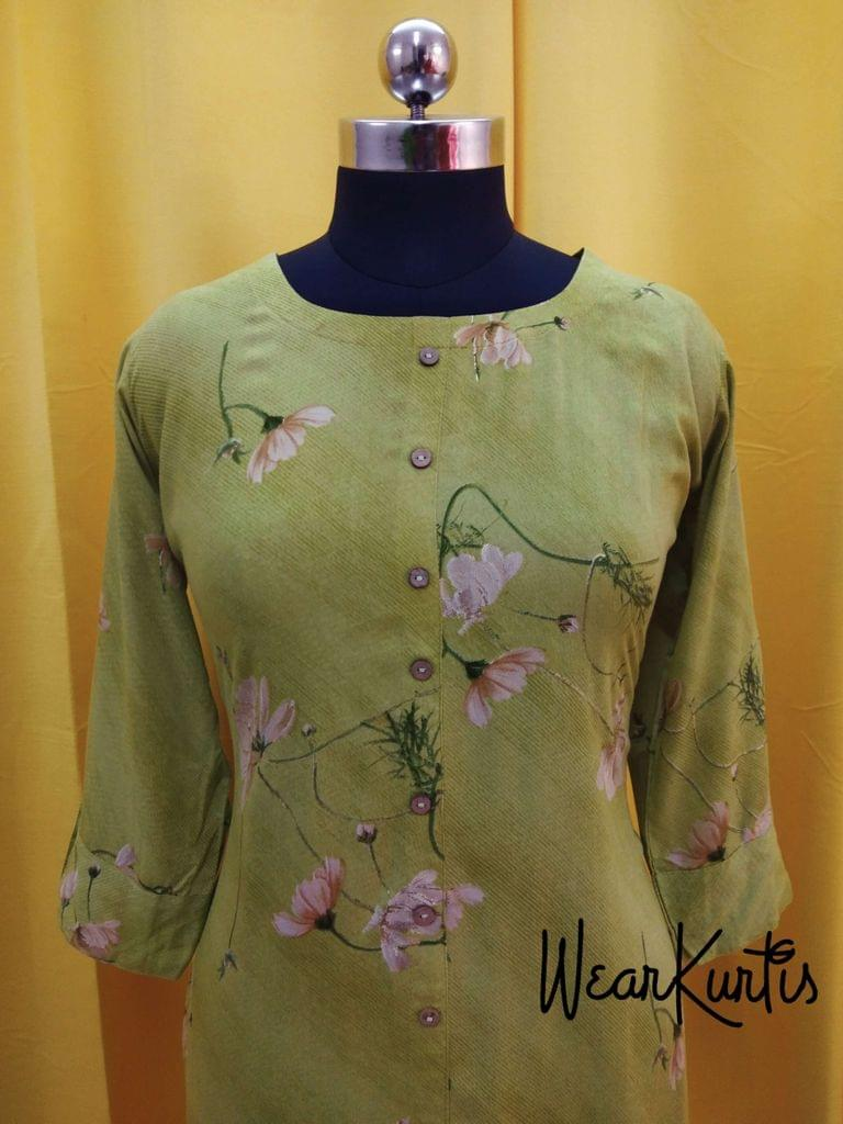 Floral Printed Green Modal fabric kurti with front closed placket (Refer Size chart, 3rd pic before ordering, No Refund, No Return, No exchange, No cancellation), Round Neck, Height 44, 3/4 sleeves, front and side slits.