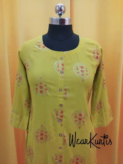 Golden Printed Mehandhi Green Modal Fabric Kurti with front closed placket,(all buttons can be unbuttoned) (Refer Size chart, 3rd pic before ordering, No Refund, No Return, No exchange, No cancellation),Round Neck, Height 43, 3/4 slevves with flap, front and side slits
