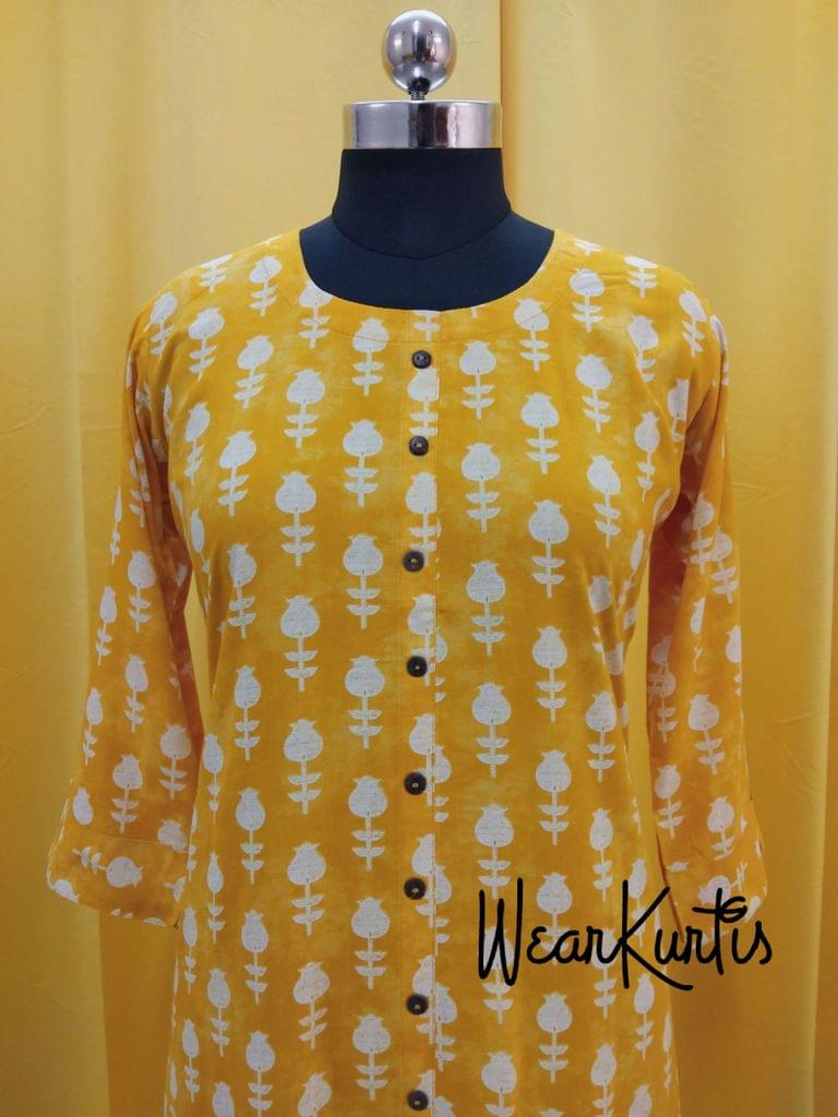 Printed Yellow Modal kurti with, front closed placket (Refer Size chart, 3rd pic before ordering, No Refund, No Return, No exchange, No cancellation), Round neck, Height 44, 3/4Sleeves with flaps, front and slide slits.