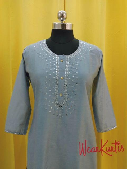 Designer Blueish Grey Chanderi (with lining) Kurti with fancy buttons and foil mirror work on yoke(Refer Size chart, 3rd pic before ordering, No Refund, No Return, No exchange, No cancellation), Round Neck, Height 46, 3/4 Sleeves, front and side slit