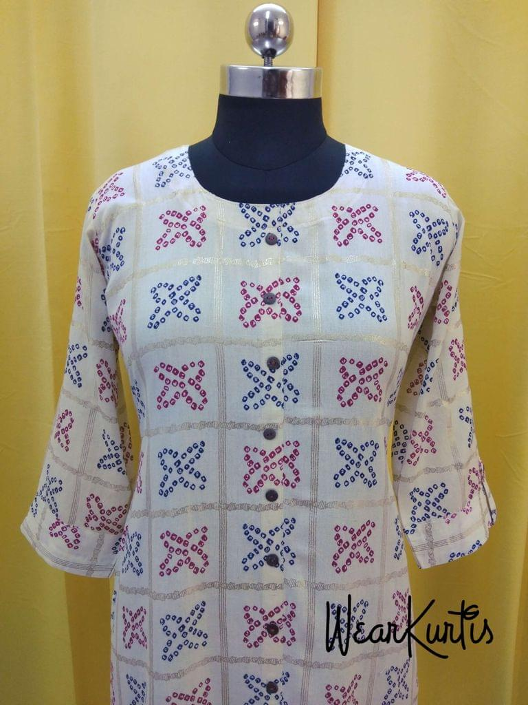 Printed Half White Jute Flex Kurti With front closed placket (Refer Size chart, 3rd pic before ordering, No Refund, No Return, No exchange, No cancellation),Round Neck, Height 42, 3/4 Sleeves with flaps, front and side slits.