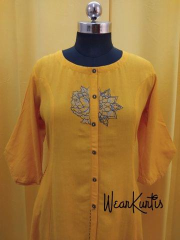 Designer Yellow Jute Flex Embroidred Kurti (Refer Size chart, 4th pic before ordering, No Refund, No Return, No exchange, No cancellation), Round neck, Princess Cut, Height 44, 3/4 Designer Sleeves (refer the 3rd pic),  front and slide slits. pockets on either side