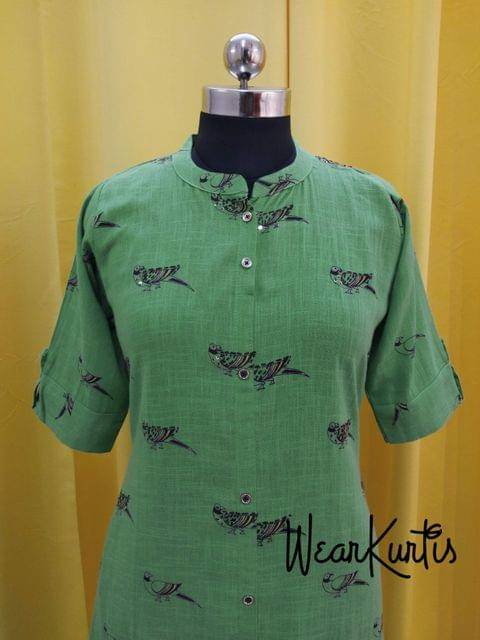 Printed Green Slub Cotton Kurti with sequence work on front side, front open placket(2 buttons can be unbuttoned)(Refer Size chart, 3rd pic before ordering, No Refund, No Return, No exchange, No cancellation), Mandarin collar, Heigh 45, 3/4 sleeves with flaps, front and side slits, one side pocket.