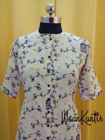Printed Handloom cotton Kurti with open front placket(2 buttons can be unbuttoned)(Refer Size chart, 3rd pic before ordering, No Refund, No Return, No exchange, No cancellation), Mandarian collar, Height 43, Elbow Sleeves with flaps, one side pocket, front slits, A line Kurti.