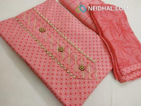 Printed Pink cotton unstitched salwar material, cotton bottom, printed chiffon dupatta with taping