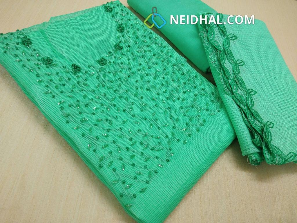 Designer Sea  Green Accord (super net) Unstitched salwar material(requires lining) with thread and bead work on yoke, sea green silk cotton bottom, sea Green Accord (super net ) dupatta with complete embroidery work with cut taping
