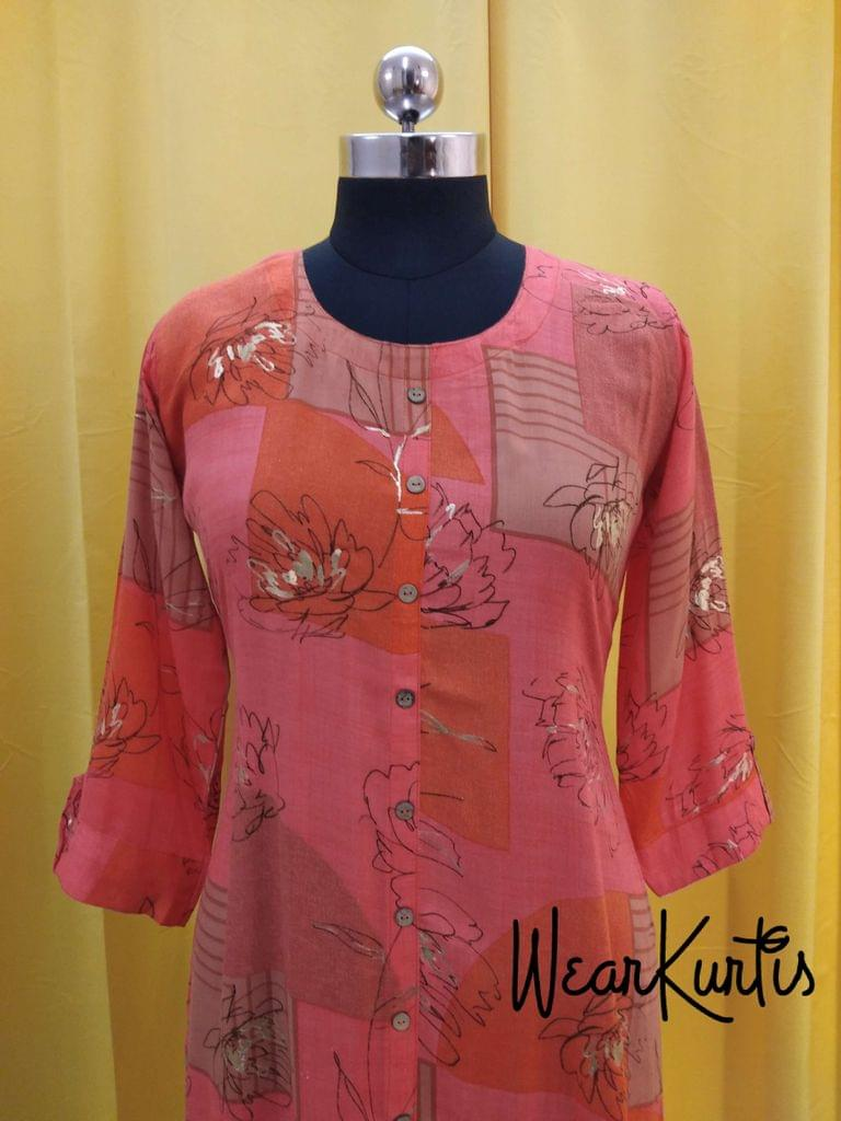Floral Printed Multicolor Modal fabric Kurti with golden prints, front closed placket(Refer Size chart, 3rd pic before ordering, No Refund, No Return, No exchange, No cancellation),Round Neck, Height 43, 3/4 sleeves with flaps, front and side slits.