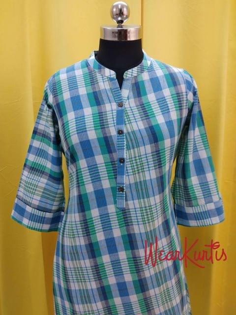 Checked Blue Cotton Kurti With open front placket (Refer Size chart, 3rd pic before ordering, No Refund, No Return, No exchange, No cancellation), Mandarin Collar, Height 44, 3/4 Sleeves with flaps, A Line, two side pockets