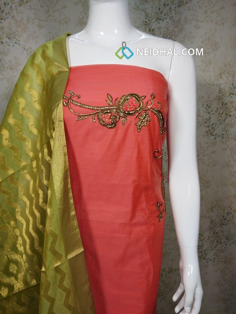 Designer Dark Peach Silk cotton unstitched salwar material(requires lining) with heavy mini stone hand work on yoke, green Silk cotton bottom, Benarasi weaving dupatta with tassles.