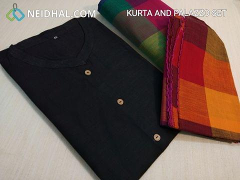 Black Cotton Kurta salwar set, multicolor cotton salwar with drawstring, multicolor cotton stoles (Refer Size chart, 3rd and 4th pic before ordering, No Refund, No Return, No exchange, No cancellation), Mandarin Collar, Height -38, 3/4 Sleeves with flaps. (SEE DESCRIPITON FOR FULL VIEW)