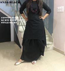 Black Color Full Stitched Patiyala Kurti SN54-Black