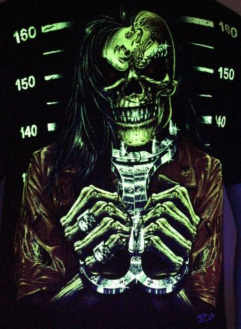 Brutal Prisoner - Glow in the Dark Radium Neon UV High definition 3D Club Biker Tattoo Tshirt Buy Online in India