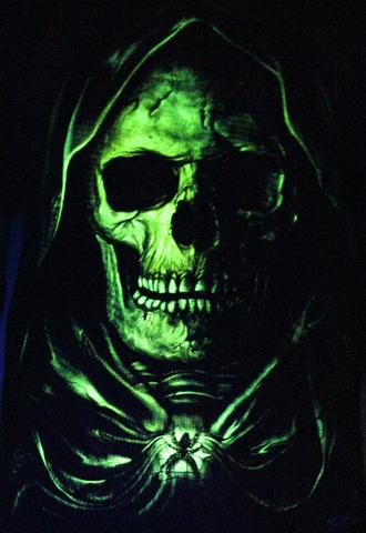 Spider Skull - Glow in the Dark Radium Neon UV High definition 3D Club Biker Tattoo Tshirt Buy Online in India