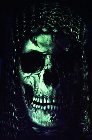 Chained Skull -  Glow in the Dark Radium Neon UV High definition 3D Club Biker Tattoo Tshirt Buy Online in India