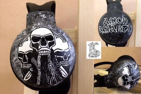 hand painted Amon Amarth headphones for a metal band lover - Philips SHP1900