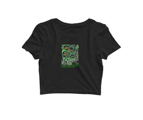 Trip with Filth Trippy Art   Croptop for music lovers