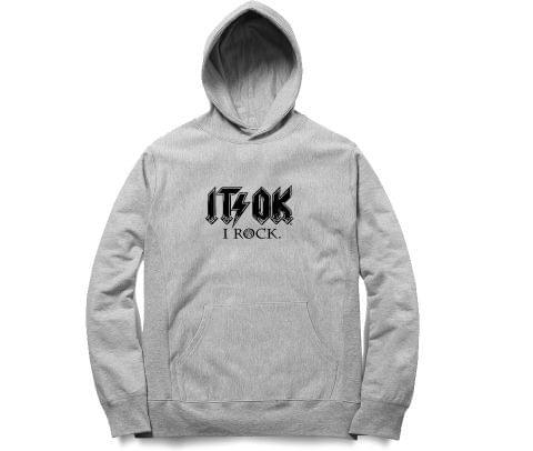 ACDC Its ok I ROCK   Unisex Hoodie Sweatshirt for Men and Women