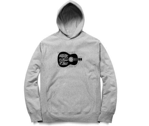 Music is what feeling sounds like   Unisex Hoodie Sweatshirt for Men and Women
