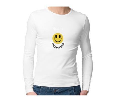 Music is Happiness  Unisex Full Sleeves Tshirt for men women