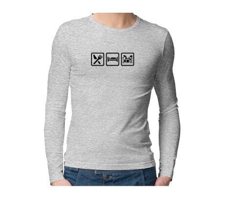 Eat Sleep Drumming Repeat  Unisex Full Sleeves Tshirt for men women