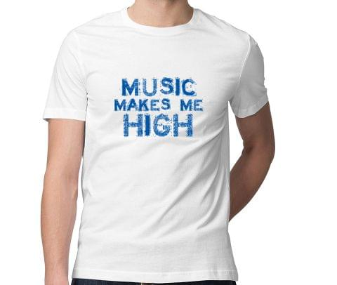 Music makes me high  Men Round Neck Tshirt