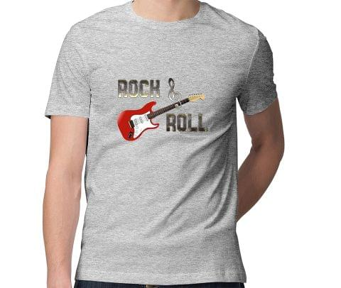 Rock and Roll Guitar  Men Round Neck Tshirt