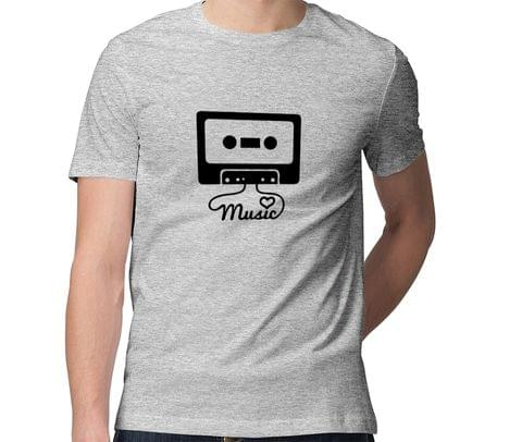 Music Addict Retro  Men Round Neck Tshirt
