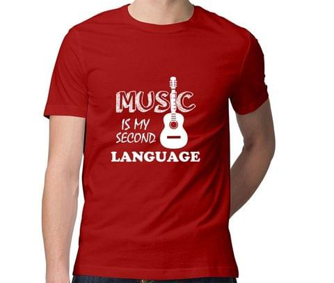 Music is my second Language  Men Round Neck Tshirt