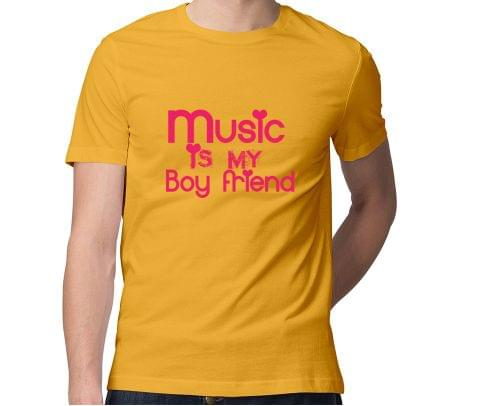 Music is my Boyfriend  Men Round Neck Tshirt