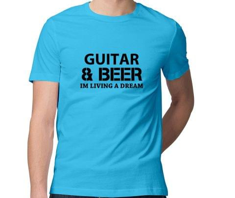 Guitar and Beer : Living a Dream  Men Round Neck Tshirt