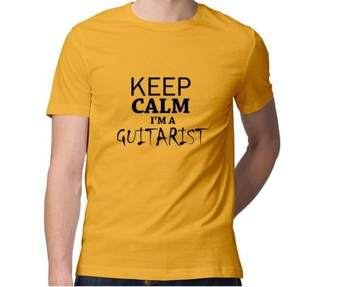 Keep calm I am Guitarist  Men Round Neck Tshirt